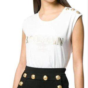 NEW Balmain Logo Print T-shirt Gold Buttons